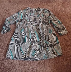 Cato grey, black& teal button down blouse
